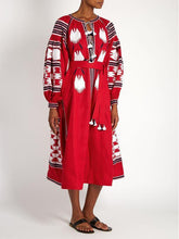 Load image into Gallery viewer, Bohemian stripes heavy geometric embroidery tassels linen in the long section of the dress