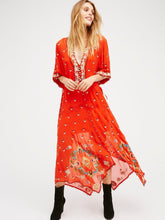 Load image into Gallery viewer, Print Embroidered V Neck Half Sleeve Button Maxi Dress