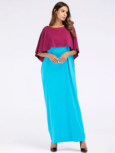 Fashion Contrast Color Asymmetry Cloak Patckwork Design Maxi Long Dress