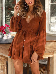 V Neck Long Sleeve Solid Color Mini Dress