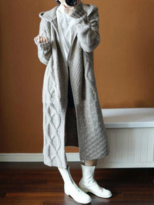 Long Hooded Cardigans Open Front Knitted Sweaters Outwear