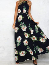 Load image into Gallery viewer, Sleeveless Polyester Halter Neck Floral Print Maxi Day Going Out Dress