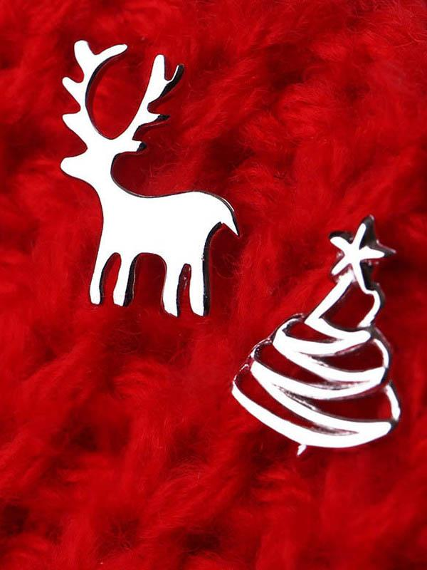 Cute Deer Christmas Tree Sliver Color Stud Earrings