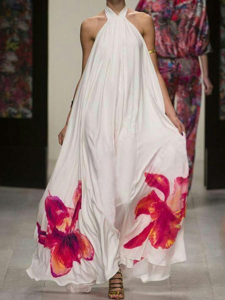 Printed Halter Backless Maxi Long Dress
