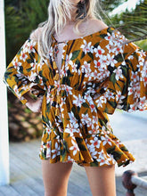 Load image into Gallery viewer, Bohemia Floral Print Off Shoulder Lace up Mini Dress