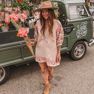 Floral Embroidery V-neck Tassel Puff Sleeves Boho Mini Dress