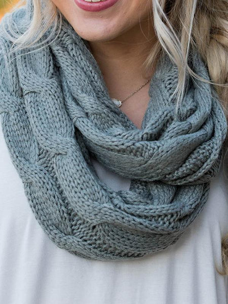 Solid Color Knit Circle Loop Scarf