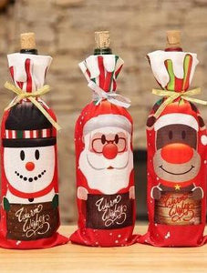 2018 Christmas decorations red wine bottle set