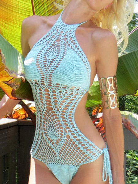 Sexy Crochet One Piece Bikini Crochet Halter Swimsuits