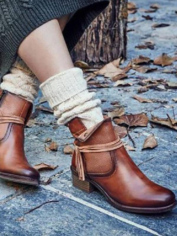 Casual Round Toe Low Square Heel Ankle Boots