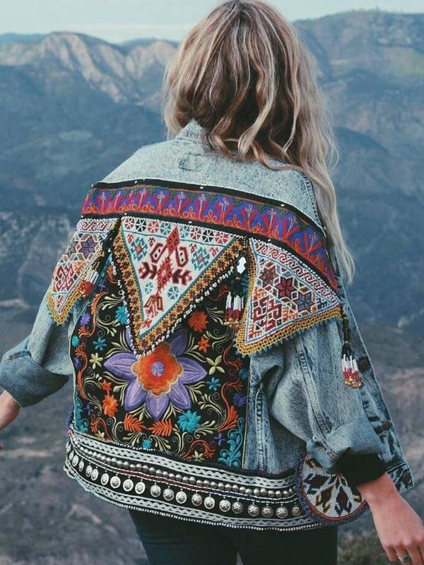 Bohemian Back Embroidery Fold-over Collar Jeans Jacket Long Sleeve Coat