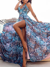Load image into Gallery viewer, Print Split Beach Bohemia Maxi Dress