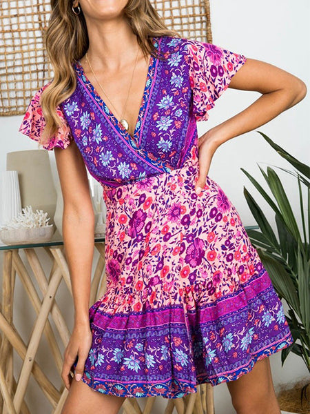 Sexy Bohemian Floral Pinrt Deep V-neck Summer Mini Dress