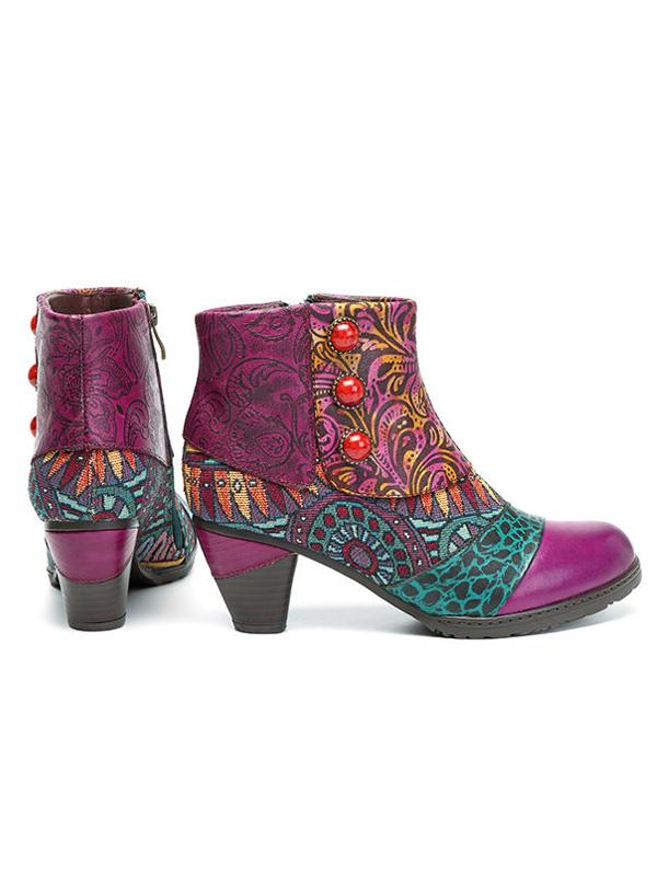 Boho Splicing Pattern Button Zipper Ankle Leather Boots