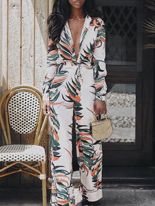 Print Deep V Neck Long Sleeve Split Maxi Dress