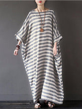 Load image into Gallery viewer, Stripe Loose Plus Size Casual Maxi Dress