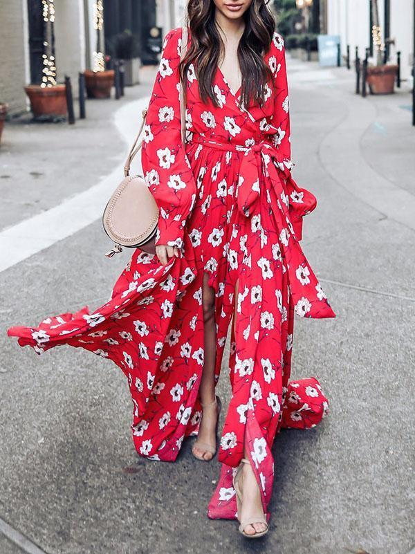 Floral Print V Neck Long Sleeve Belted Boho Maxi Long Dress