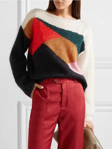 Casual Autumn Long Sleeve Loose Contrast Color Knit Sweater
