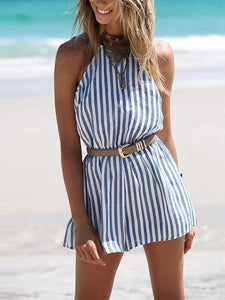 Stripe Sleeveless Backless Belted Rompers