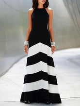 Load image into Gallery viewer, Black Striped Split-joint Sleeveless Maxi Dress