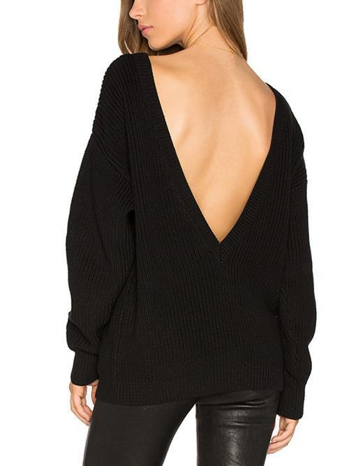 Knitting Backless Round-neck Long Sleeves Sweater Tops