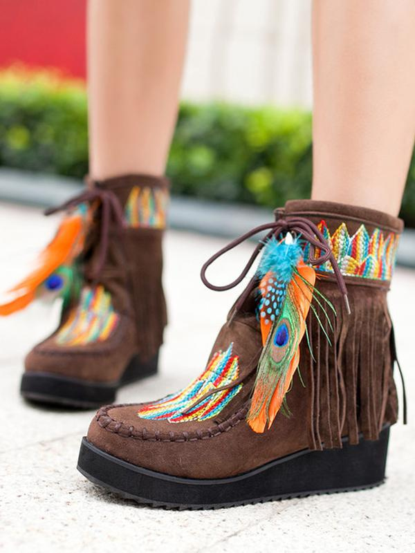 Boho Embroidered Feather Tassels Fleece Ankle Short Boots