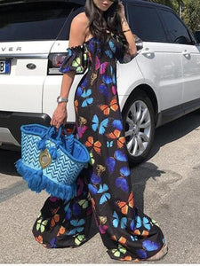 Loose Off Shoulder Black Butterfly Floral Boho Jumpsuit