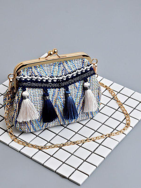 Fashion Tassel Lock Bag Shoulder Diagonal Bag Clutch