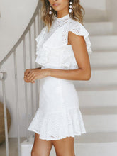 Load image into Gallery viewer, Bohemian Summer Beach Backless Ruffles White Mini Dress