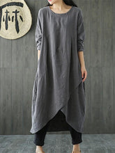 Load image into Gallery viewer, Solid Color Linen Cotton Loose Maxi Dress