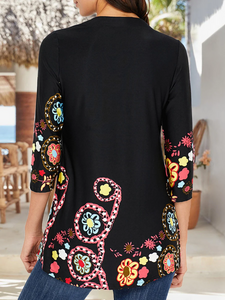 Long Sleeve Black V Neck Holiday Floral Printed Tunic