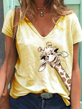 Load image into Gallery viewer, Women Simple Animal Printed V Neck Short Sleeve Tops
