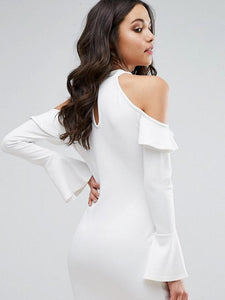 Sweet White Off Shoulder Long Sleeve Round Neck Bodycon Chiffon Mini Dress