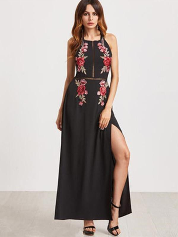 Halterneck Embroidered Split Front Maxi Dress