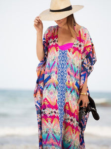 Loose Waist Bohemia Red and Blue Maxi Beach Dress