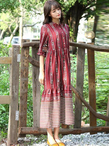 Red Half Sleeves Midi Beach Bohemia Dress
