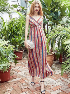 Chiffon Stripes Sleeveless V Neck Bohemia Beach Dress