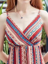 Load image into Gallery viewer, Chiffon Stripes Sleeveless V Neck Bohemia Beach Dress