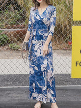 Load image into Gallery viewer, Bohemia Floral-Print Slim Fit Half Sleeve V Neck Waisted Long Dress