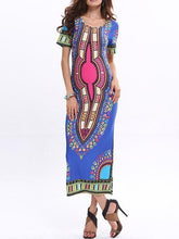 Load image into Gallery viewer, Beautiful Floral-Print Short Sleeve Round Neck Bohemia Lond Dress