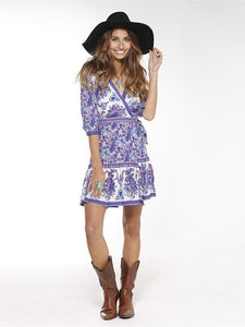 Floral-Printed V Neck Half Sleeve Bohemia Beach Mini Dress 2