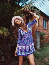 Load image into Gallery viewer, Floral-Printed V Neck Half Sleeve Bohemia Beach Mini Dress 2