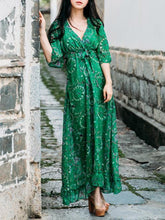 Load image into Gallery viewer, Chiffon Floral-Printed Short Sleeve V Neck Bohemia Beach Maxi Dress