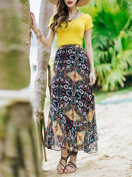 Beautiful Floral-Printed Chiffon Skirt And Solid Color T-Shirt Two-Piece Suits
