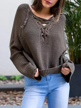 Load image into Gallery viewer, Asymmetric Solid Color V-neck Lace-Up Loose Sweater Tops
