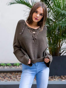 Asymmetric Solid Color V-neck Lace-Up Loose Sweater Tops