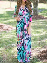 Load image into Gallery viewer, Pretty Green Floral-Printed V-neck Raised Bands Bohemia Maxi Dress