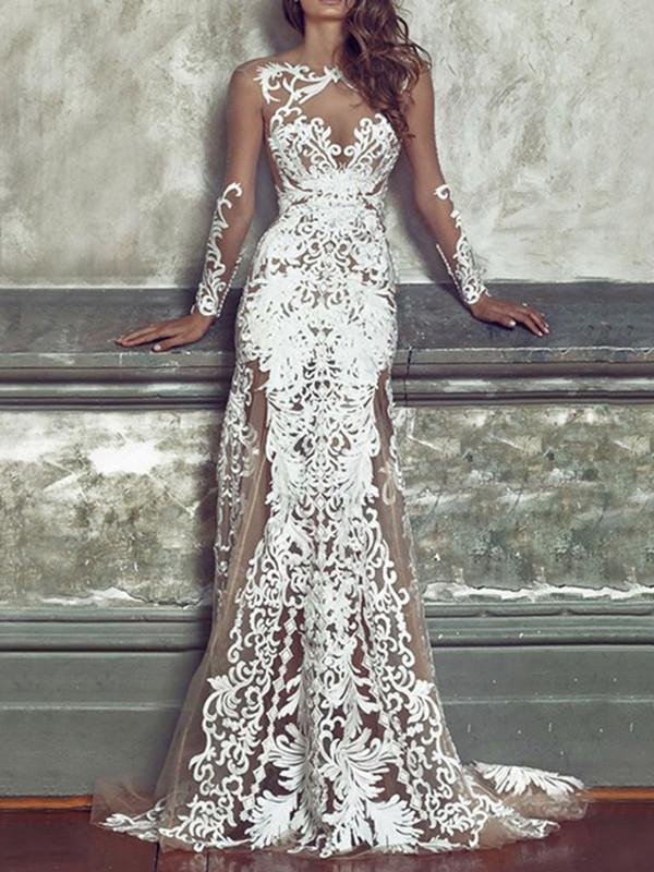 Sexy Lace Emboridered Hollow Round-neck Floor Maxi Dress