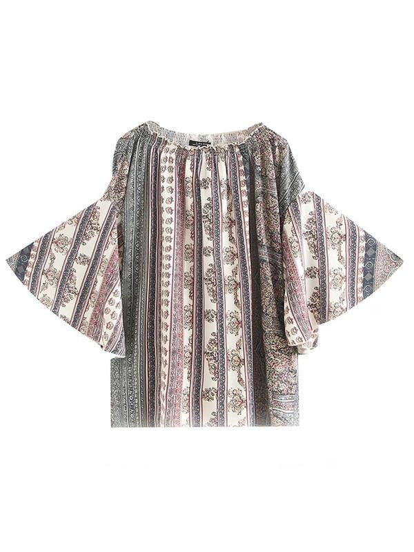 Printed Off-the-shoulder Flared Sleeves Bohemia T-Shirt Tops