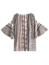 Load image into Gallery viewer, Printed Off-the-shoulder Flared Sleeves Bohemia T-Shirt Tops